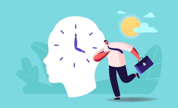 Бизнесмен персонаж спешит на работу, проспал из-за смены часового пояса смены часовых поясов. гормональное расстройство, дедлайн и стресс, тайм-менеджмент, планирование, планирование работы. векторные иллюстрации шаржа