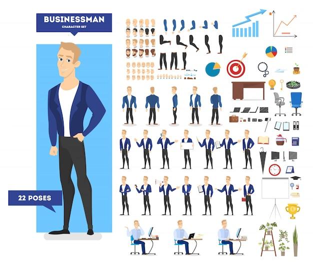 スーツのビジネスマンキャラクターは、さまざまなビュー、髪型、感情、ポーズ、ジェスチャーでアニメーションを設定します。