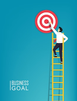 Businessman character is climbing a ladder aim to the target symbol illustration. step by step to be a success in business and career achievement.
