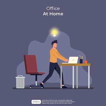 ビジネスマンのキャラクターは自宅で働いています。