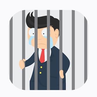Businessman character in the jail cartoon vector design