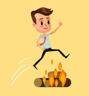 모닥불 위로 점프 사업가 문자