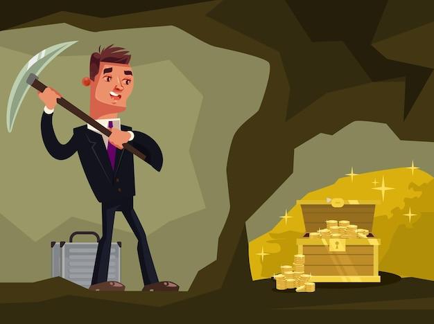 Businessman character looking for hidden treasures cartoon illustration