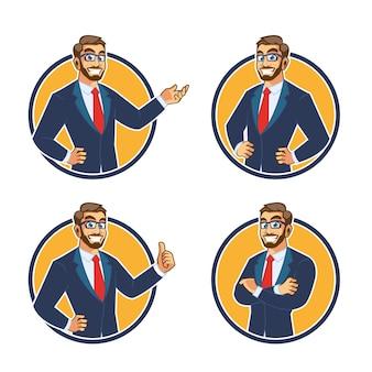 ビジネスマンキャラクターマスコットデザイン