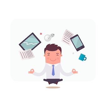 Businessman character meditating