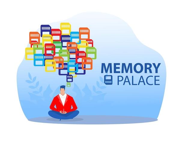 다채로운 메모리 팰리스 개념 벡터 일러스트 레이 터와 사업가 캐릭터 명상