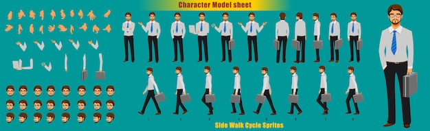 Businessman character model sheet with walk cycle animation sprites sheet