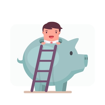 Businessman character peeping out from a piggy bank