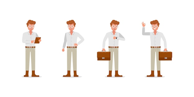 Businessman character . presentation in various action.