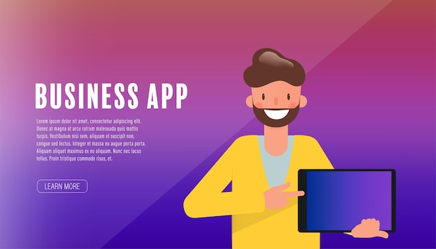 Businessman character presenting application.
