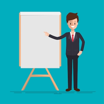 Businessman character to presenting.