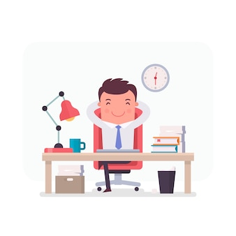 Businessman character relaxed in the office