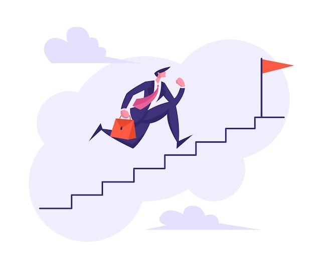 Бизнесмен персонаж работает вверх по лестнице наверх иллюстрации