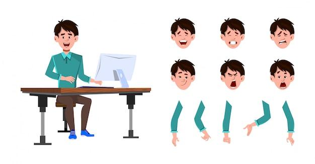 ビジネスマンの文字セット。アニメーションやモーションのビジネスマンワーカー男文字セット