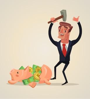 Персонаж бизнесмена разбил копилку и получил много денег плоскую карикатуру