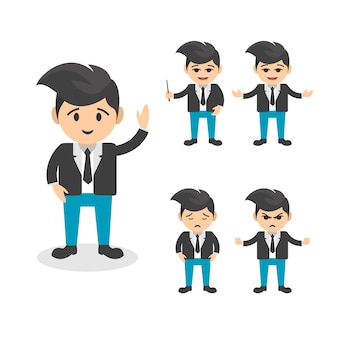 Businessman character vector flat  set in various poses set 1
