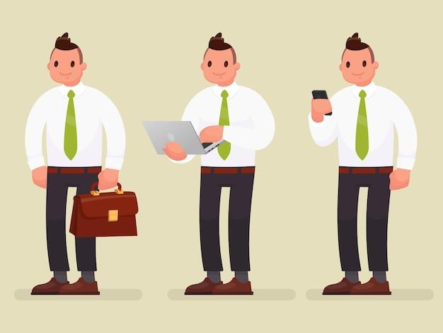 서류 가방, 노트북 및 전화 사업가 문자. 플랫 스타일로
