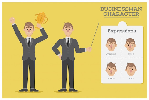 Businessman character with expressions