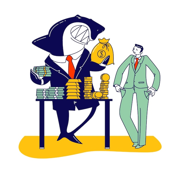 Businessman character with financial problems visiting shark for taking loan. business man demonstrate empty pockets, scary shark with sharp teeth giving money sack. linear people vector illustration