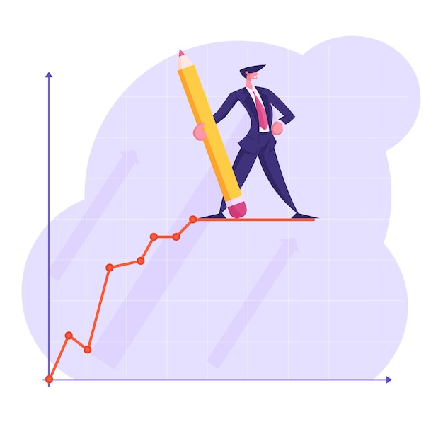 Businessman character with huge pencil in hand stand on top of growing business chart