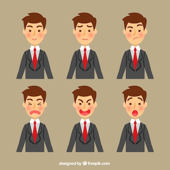 Businessman character with several expressive faces