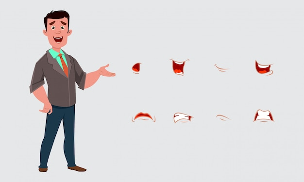 Businessman character with various expression or emotion.