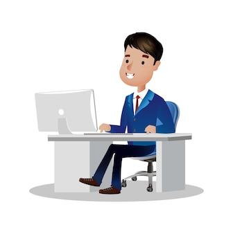 사무실 책상에 노트북 컴퓨터에서 작업하는 사업가 문자