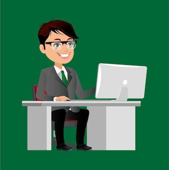 オフィスデスクでラップトップコンピューターに取り組んでいるビジネスマンのキャラクター