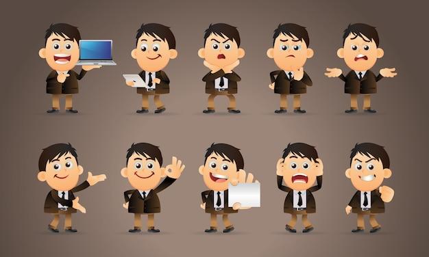 さまざまなポーズのビジネスマンのキャラクター