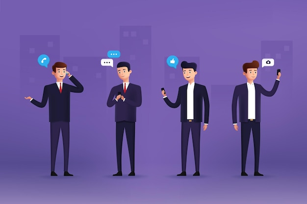 Businessman characters use different devices. 3d stylized. vector illustration