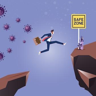 コロナウイルスに追われ、安全地帯に向かってギャップを飛び越えるビジネスマン