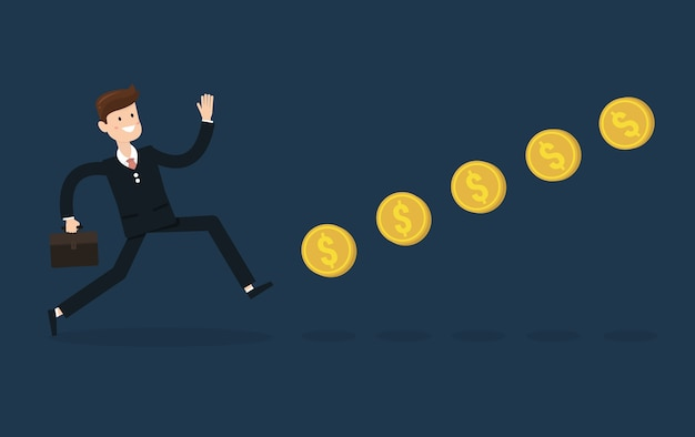 Businessman chasing coins video game style.