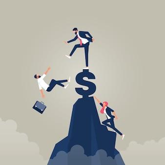 大金を追いかけるビジネスマン現金レース市場シェアとお金の競争の概念