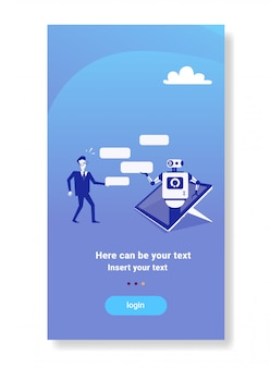 Businessman chatting with chatbot modern robot mobile device application tech support concept