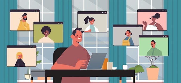Businessman chatting with mix race colleagues during video call business people having online conference meeting communication concept office interior horizontal portrait illustration