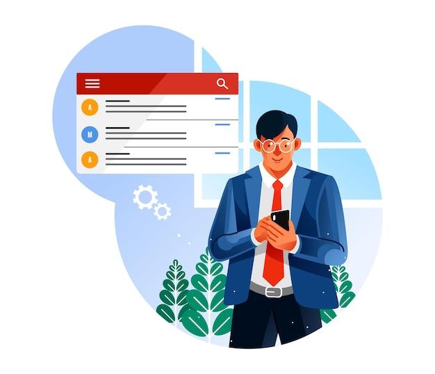 Бизнесмен проверить электронную почту на мобильном телефоне