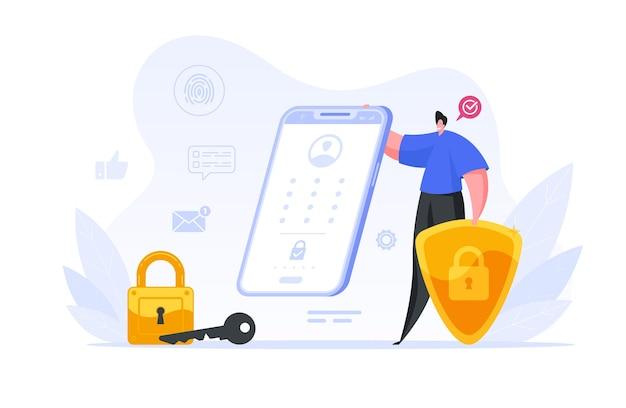 彼のスマートフォンのイラストの生体認証保護をチェックするビジネスマン。男性キャラクターは指紋スキャナーによる個人のウェブデータの保護の程度に満足しています