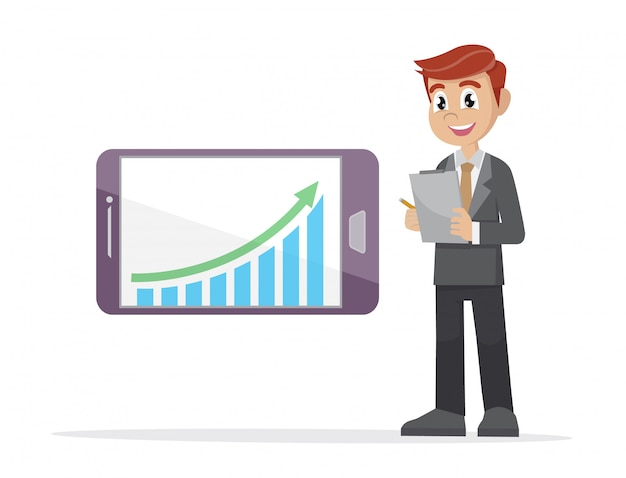 Businessman checking graph in a smartphone.