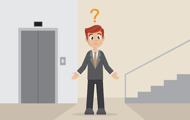 Бизнесмен выбирает между лифтом или лестницей.