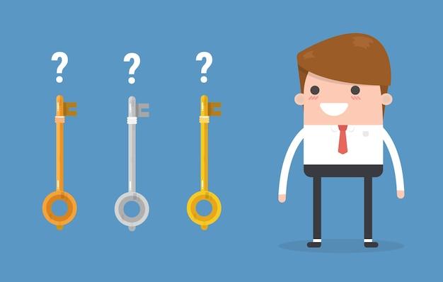 Businessman choose success key.