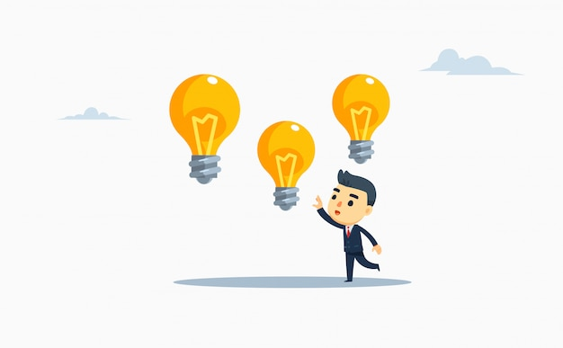 A businessman chooses one of three bulb lamps.vector illustration