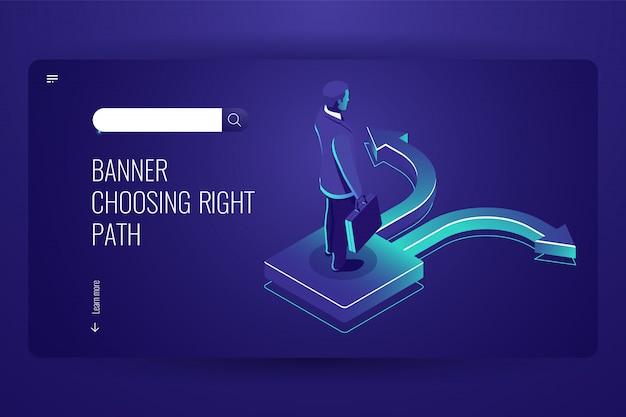 L'uomo d'affari sceglie il modo, scelta difficile di concetto di affari, freccia a destra e sinistra sulla strada