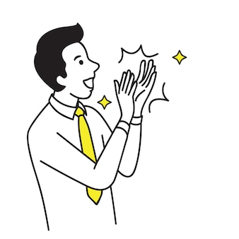 Businessman clapping hand celebrating