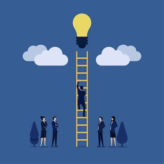 Businessman climb ladder to cloud and reach idea bulb metaphor of get idea.