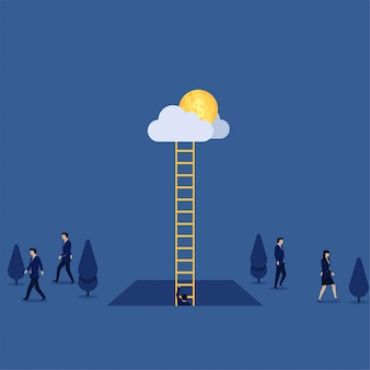 Businessman climb up ladder to cloud when others go away metaphor of way of success.