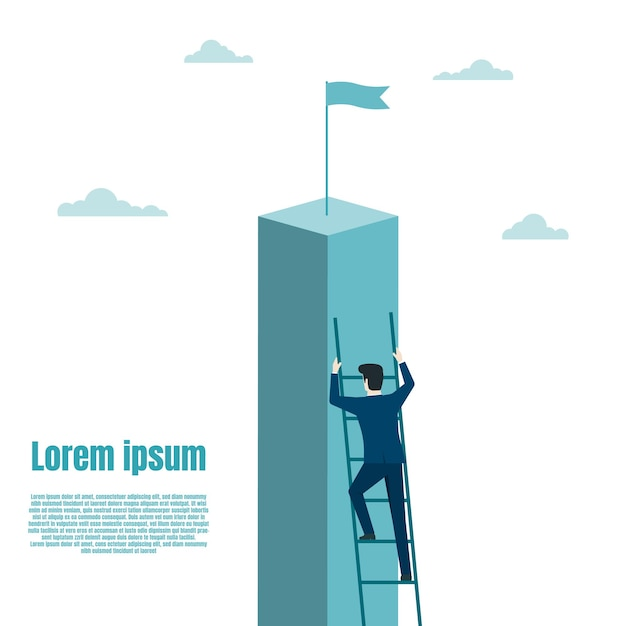 Businessman climb up the staircase on the success. ambition, goal, achievement. business success goal. growth in career. vector illustration flat