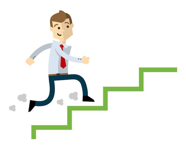 Businessman climb up stairs, job promotion