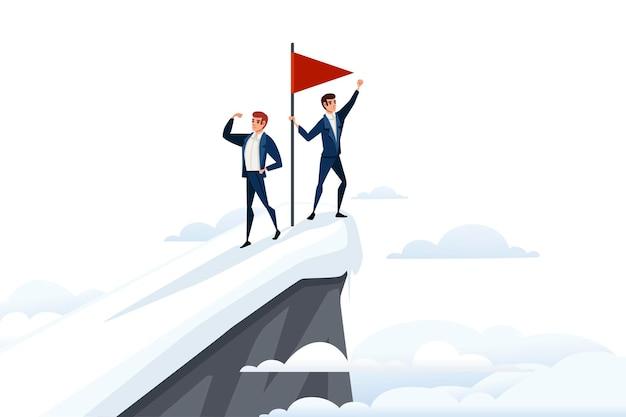 ビジネスマンは雪山の頂上で山チームワークコンセプト赤旗の頂上に登った