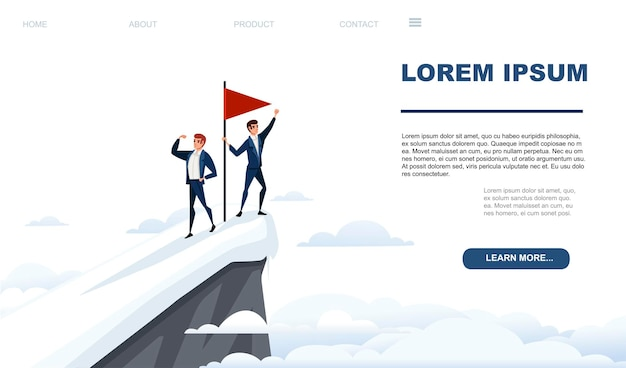 Businessman climbed to the top of the mountain team work concept red flag on snowy mountain peak