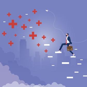 トップに抽象的なプラスとマイナスのはしごを登るビジネスマン